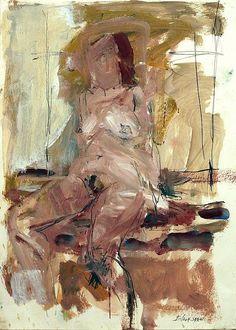 "Basil Blackshaw - Seated Nude - Mixed media on paper -  23"" x 16"""