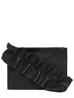 MSGM Leather Pouch W/ Ruffle Detail, Black. #msgm #bags #leather #pouch #accessories #