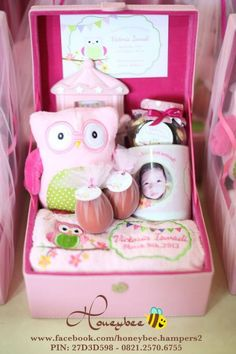 Tea time hamper rattan briefcases pinterest hamper announce your baby born in a new way baby victorias hamper pink owl themed negle Choice Image