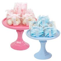 Baby Shower: Blue And Pink Stands (made With Items Found At Dollar Tree)