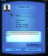 Mod The Sims - Rapper Career - Converted from coko career