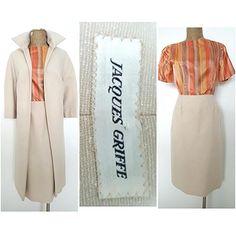 Vintage 60s Jacques Griffe Skirt Suit Dress Size Medium Long Jacket Silk Top #JacquesGriffe #SkirtSuitOutfit #Formal