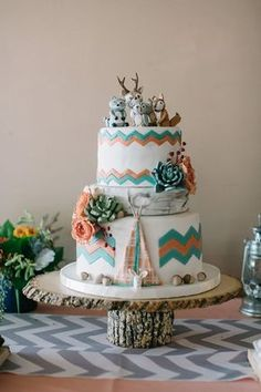 Glamping Themed Baby Shower - Camping themed cake for this Glamping shower Photography: Echard Wheeler Photography echard-wheeler - Tribal Baby Shower, Baby Shower Fall, Baby Shower Themes, Baby Boy Shower, Pretty Cakes, Cute Cakes, Beautiful Cakes, Amazing Cakes, Torta Baby Shower