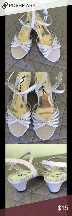 "Nina heeled sandals. Girls 4🌹 Nina white strappy sandals. Rhinestones on one strap plus on the buckles. Very little use and EUC. 2"" heel. Girls size 4 Nina Shoes Sandals & Flip Flops"