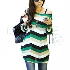Women T-ShirtTop Long Sleeve Off Shoulder Fashion M L - Green - US L/Asia XL
