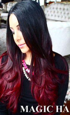 Resultado de imagen para balayage en cabello de fondo negro y puntas de color rojo