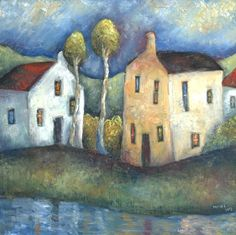 Riverbank Houses by Jeremy Mayes Art And Illustration, Cottage Art, Arte Popular, Naive Art, Whimsical Art, Urban Art, Painting Inspiration, Painting & Drawing, Folk Art