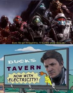 Buck's Tavern - Halo- he bought the whole Damn bar lol Video Games Funny, Funny Games, Skyrim Cosplay, Anime Cosplay, Halo Quotes, Halo Funny, Zero Wallpaper, Funny Gaming Memes, Halo Collection