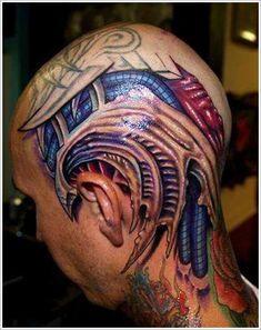 Cool Bio-mechanical Tattoo designs : Biomechanical Tattoo Design For Men Head