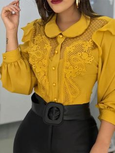 Peter Pan Collar Mesh Lace Insert Blouse fashion trends Classy,fall fashion trends For Women Over fashion trends Over trends Scarfs,fall Sexy Outfits, Trendy Outfits, Fashion Outfits, Womens Fashion, Fashion Clothes, Stylish Clothes, Casual Clothes, Fashion 2018, Fashion Online