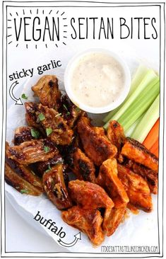 Vegan seitan bites made in two flavours sticky garlic and buffalo sauce. This classic bar food served with vegan blue cheese dip and all! Make ahead recipe. Perfect for Superbowl Sunday game night or a party appetizer. Delicious Vegan Recipes, Vegan Dinner Recipes, Whole Food Recipes, Vegetarian Recipes, Vegetarian Sandwiches, Going Vegetarian, Vegetarian Dinners, Vegetarian Wings, Vegetarian Cooking