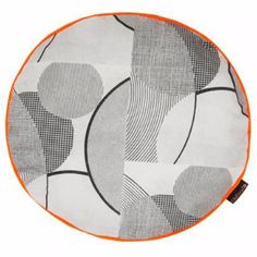 Pop Art Circles Round Cushion By Ella Doran: Pop Art Circles round cushion with neon orange piping by Ella Doran. Screen printed front & back cover. Concealed zip. Hand made in the UK.