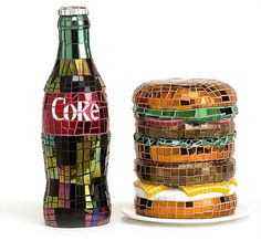 Jean Wells - coke and hamburger - 2010 - cut glass mosaic on carved polyurethane foam Mosaic Diy, Mosaic Glass, Fused Glass, Glass Art, Stained Glass, Cut Glass, Mosaic Ideas, Pepsi, Coke