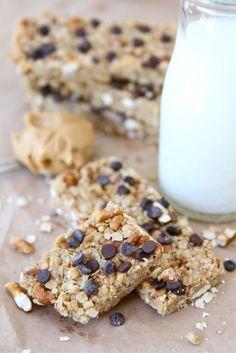 No-Bake Peanut Butter Pretzel Chocolate Chip Granola Bars | Two Peas and Their Pod