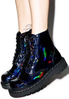 14f44da7e Iridescent Clothing, Eyelet Lace, Creeper Shoes, Creepers, Dr Martens Boots,  Vegan Leather, Combat Boots, Shoes Heels, Shoe
