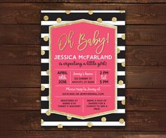 Glitter Baby Shower Invitation Pink and by LittleBeesGraphics