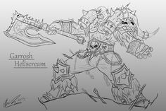 A line art study of Garrosh Hellscream
