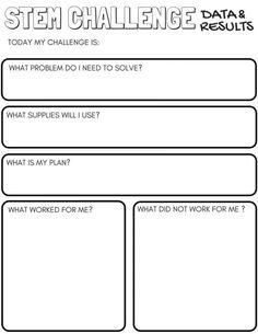 STEM Challenge Worksheets Page 1