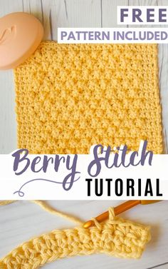 Learn how to crochet the berry stitch with this easy photo tutorial. Plus, get the free berry stitch crochet dishcloth pattern as well! Crochet Stitches Free, Dishcloth Knitting Patterns, Crochet Blanket Patterns, Crochet Dishcloth Patterns, Stitch Patterns, Different Crochet Stitches, Knitted Dishcloths, Crochet Stitches For Blankets, Crochet Stitches For Beginners