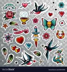 Old school tattoo set stock vector art & more images of art - istock Pin Up Tattoos, Mom Tattoos, Tattoos For Guys, Sleeve Tattoos, Tattoo Tradicional, Traditional Tattoo Old School, Tatuaje Old School, Old School Fashion, Home Icon