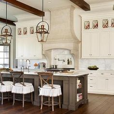 Kitchen Island with Skirted Stools, French, Kitchen