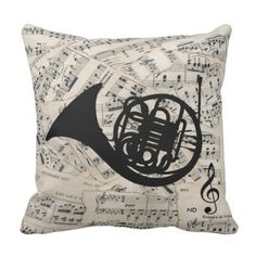 Vintage sheet music with a French Horn Throw Pillow