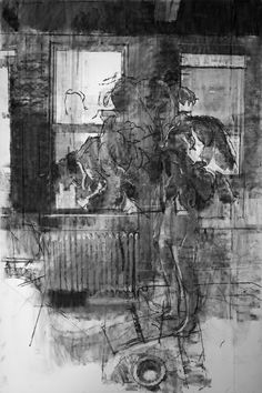 Sangram Majumdar. Interior, 2009  Charcoal and graphite on paper, 72 x 48 in