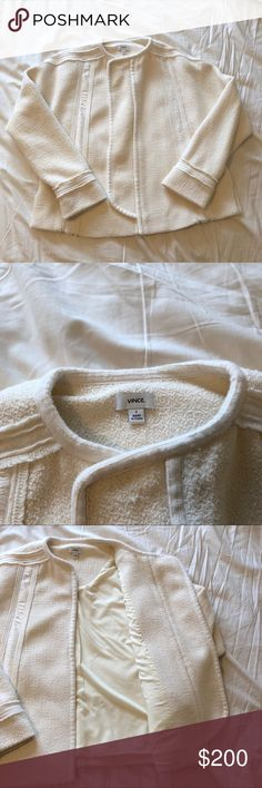 VINCE White/Cream Frayed Edge Bouclé Jacket Amazing piece from VINCE. I've worn twice, and just had it dry cleaned, so its in mint condition. Approx. 24 inches in length. True to size. Gorgeous boucle and tonal accents. Material and care info in photos. Vince Jackets & Coats