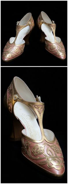 Pair of pink silk and gold leather shoes. Perugia, Paris. Circa 1923. Worn by Hortense Acton. © New York University, Acton Collection, Villa La Pietra, Florence. See: http://vlpcollections.org/transatlantic/rotonda/