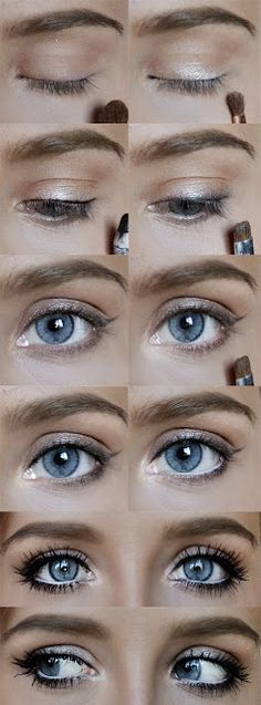 the Falsies (looots of mascara)  NYX Caviar (the light brown which is on top right, the gold next to it and the combination of the same gold and white to brighten the corner of the eye and under the brow)  REVLON gel liner