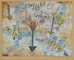 Birds and Arrows descendiendo  Paul Klee (alemán (nacido en Suiza), Münchenbuchsee 1879-1940 Muralto-Locarno)  Fecha: 1919 Medio: Impresión de la acuarela y tinta sobre transferido gesso sobre papel Dimensiones: H. 8-3/8, 10-1/2 pulgadas W. (21,3 x 26,7 cm.) Clasificación: Dibujos Línea de crédito: La Colección Berggruen Klee, 1984