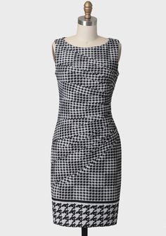 Fashion Week Houndstooth Dress By Jessica Simpson 118.99 at shopruche.com. With diagonal cuts and cinching at the side, this flattering sheath dress is a twist on the classic houndstooth frock. This luxurious dress is perfected with a magnified houndstooth print hem and an exposed back...