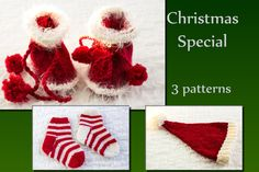 INSTANT DOWNLOAD PATTERNS  Christmas Special 3 Patterns, Santa Hat, Santa Booties, Candy Cane Socks