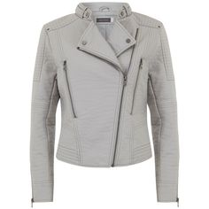 Mint Velvet Collarless Biker Jacket, Dove ($160) ❤ liked on Polyvore featuring outerwear, jackets, short white jacket, collarless jacket, white zipper jacket, motorcycle jacket and white zip jacket