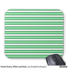 Pastel Green, White and Dark Green Stripes Mouse Pad