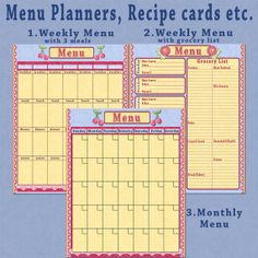 menu planners recipes grocery lists by SunnysideCottageArt on Etsy, $2.99