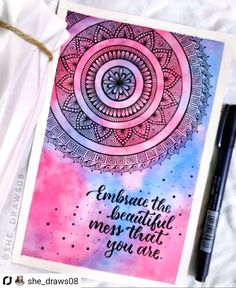 Embrace the beautiful mess that you are . Posting an old workHope you liked itShare your views in the comments below . Used : watercolor tubes . Easy Mandala Drawing, Mandala Doodle, Doodle Art Drawing, Mandala Sketch, Doodling Art, Mandala Art Therapy, Mandala Art Lesson, Mandala Artwork, Watercolor Mandala