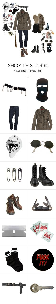 """""""I WANNA KISS YOU THROUGH YOUR HOCKEY MASK"""" by wasteyrselfff ❤ liked on Polyvore featuring Versace, True Religion, Coffee Shop, Ray-Ban, Tim Holtz, Dr. Martens, Market, Sparco, Free Press and Humör"""