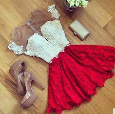 Elegant Red Lace and Chiffon Dress