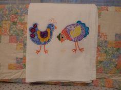 Embroidered Applique Chickens Flour Sack by SugarHillEnterprises, $6.50