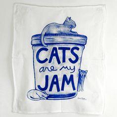 Mason Jar Art - Cat Tea Towel by Xenotees