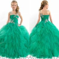 puffy dresses for kids - 2015 Ball Gown Girls Flower Dresses Floor Length Tulle Puffy Crystals Sheer Neck Pageant Dresses For Girls Lovely Kids Dresses For Wedding
