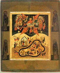 Сотворение мира с избранными святыми.(И почи Бог в день седьмый). Строгановская Школа. Конец XVI - начало XVII века.