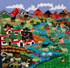 Farming Village Arpillera - World Folk Art - Find Stained Gourds, Metal Wall Hangings, and more