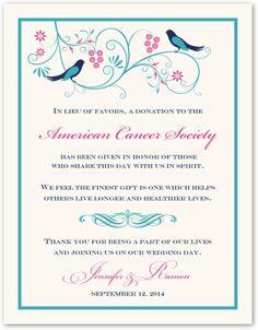 Leah and Luna Birds Wedding Donation Cards