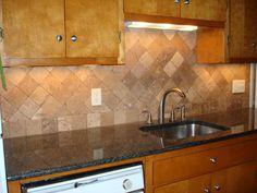 kitchen backsplash photo gallery | Tumbled travertine kitchen backsplash on diagonal | New Jersey Custom ...