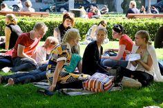 Piknikillä Esplanadin puistossa (79485). esplanad, esplanadin puisto, helsinki, kesä, kesäpäivä, loma-aika, nautiskella, nauttia, picnic, piknik