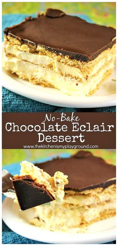 This is a classic! No-bake Chocolate Eclair Icebox Dessert is creamy, delicious, and comforting. And it's ALWAYS a big hit! is a classic! No-bake Chocolate Eclair Icebox Dessert is creamy, delicious, and comforting. And it's ALWAYS a big hit! Brownie Desserts, Oreo Dessert, Chocolate Eclair Dessert, Icebox Desserts, Tiramisu Dessert, Easy No Bake Desserts, Icebox Cake, Delicious Desserts, Delicious Chocolate