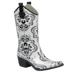 @Overstock - This cute and funky cowboy boot by Journee Collection packs plenty of style with a classic cowboy look. Made from rubber for optimal wear in the elements, this fun shoe features a stylish white and black medallion print.http://www.overstock.com/Clothing-Shoes/Journee-Collection-Womens-Medallion-Print-Cowboy-Rainboots/7628487/product.html?CID=214117 $43.99