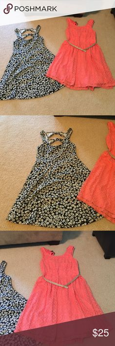 Skater dresses Floral print dress size small, and coral dress size 1. Worn both a few times. Forever 21 Dresses Mini